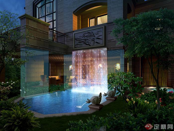 园林景观花园庭院水池喷泉设计效果图 PSD格式