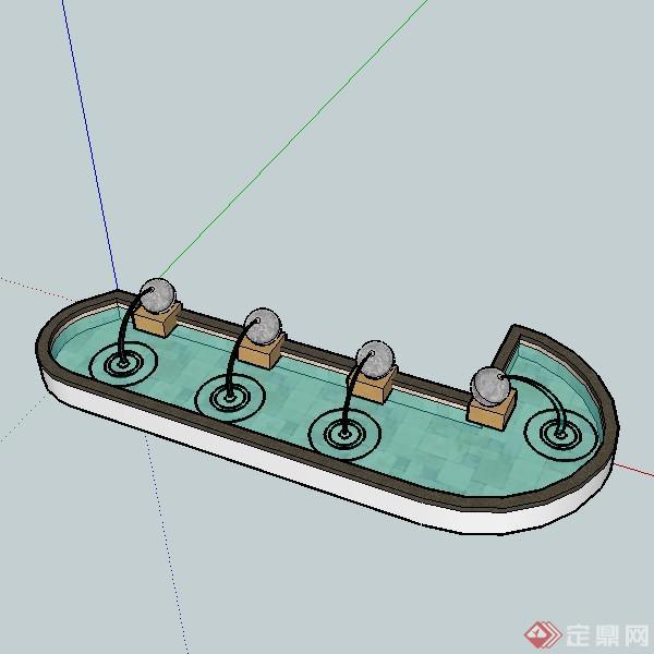 某欧式园林景观水景喷泉设计su模型素材