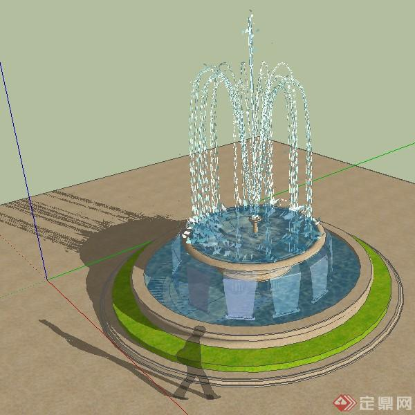 景观喷泉水景设计方案SU模型24,该模型设计精美细致,细节处理较好,材质处理得当,风格是现代风格,是比较好的水景设计方案。