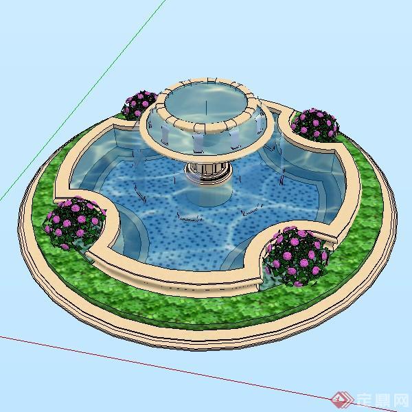 某欧式圆形喷泉水景跌水su模型素材