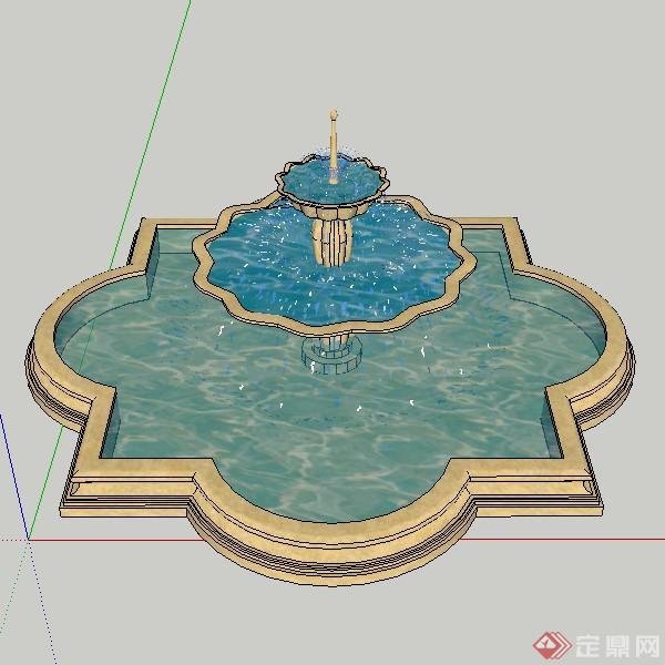 某欧式风格喷泉喷水池设计su模型素材