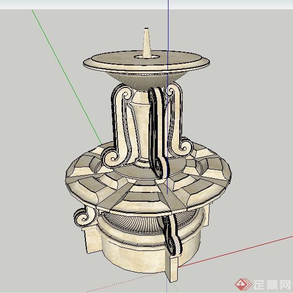 某欧式风格喷水池喷泉小品设计su模型素材