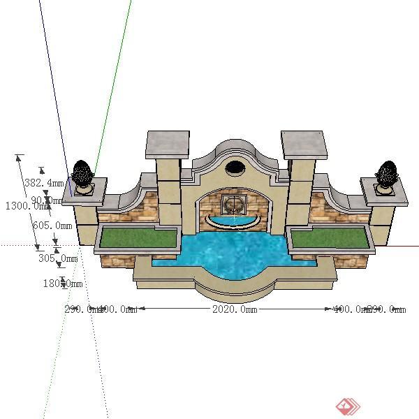 某欧式风格入口景观水景喷泉设计su模型素材
