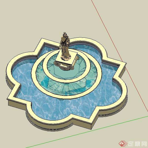 景观喷泉水景设计方案su模型7