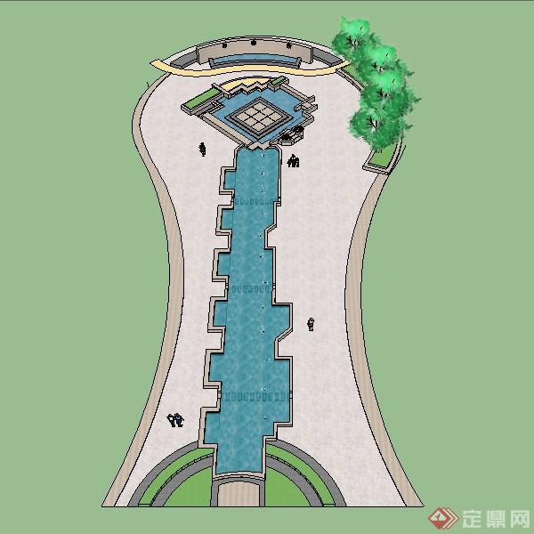 某长方形喷水池喷泉水景设计su模型素材