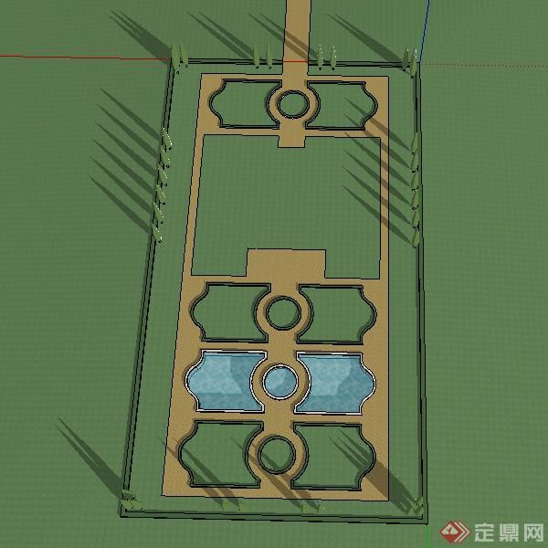 某欧式风格小广场喷泉绿篱设计su模型素材
