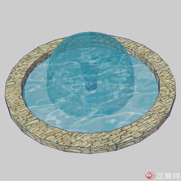 某欧式圆形喷泉池喷泉水景设计su模型素材