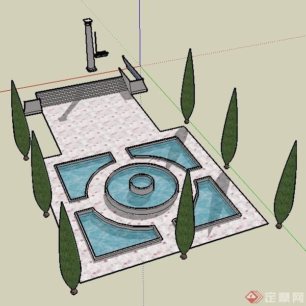 某欧式风格喷泉群组设计su模型素材