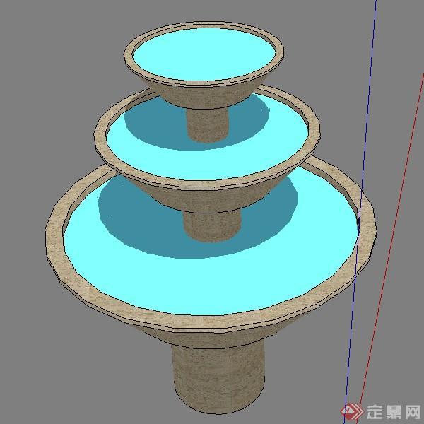 某欧式园林景观水景喷泉喷水池设计su模型