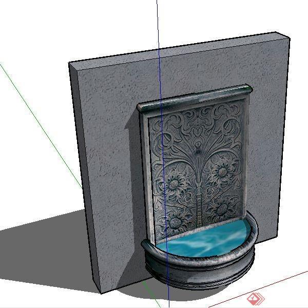 某现代景观墙浮雕水景喷泉设计su模型素材