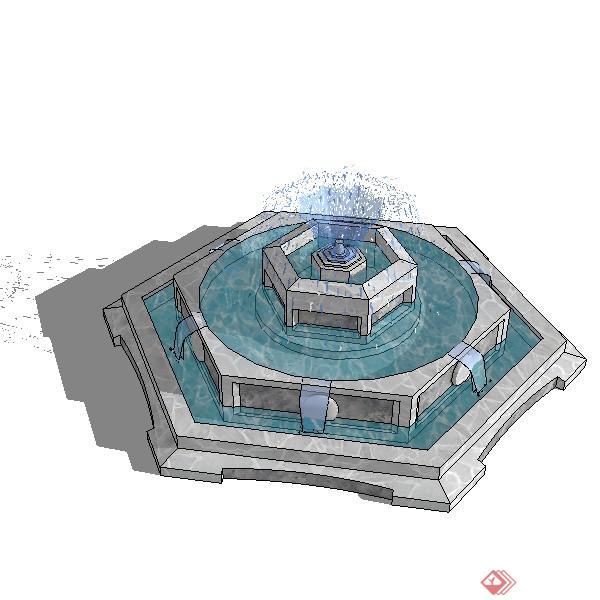 某欧式跌水景观池喷水池设计su模型素材