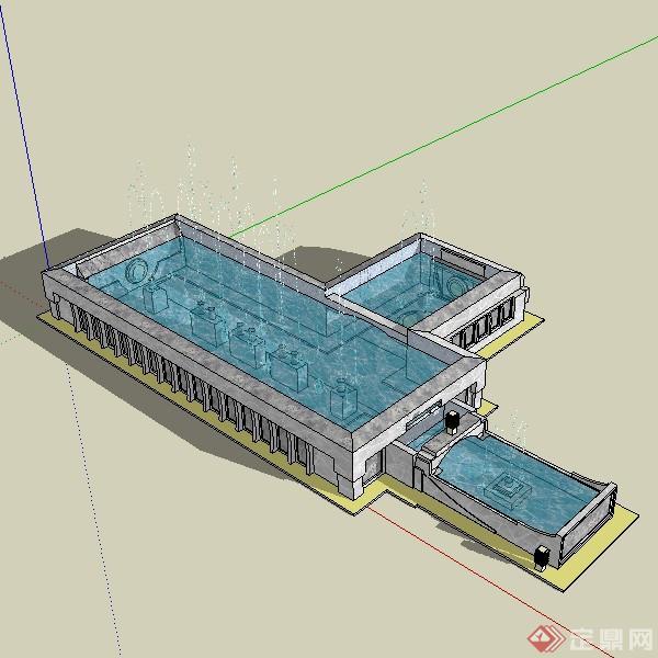 某现代方形水池喷水池水景设计su模型素材
