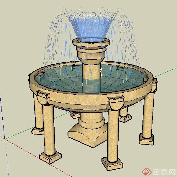 某欧式圆形喷泉喷水池设计su模型素材
