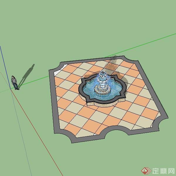 某欧式风格景观水池设计su模型素材2
