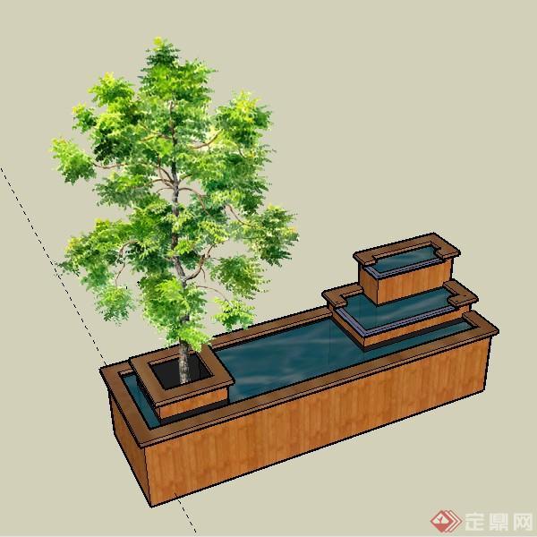 某木质方形水池水景景观设计su模型素材