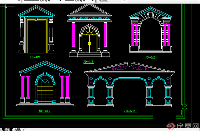 某欧式风格构件设计cad图纸合集