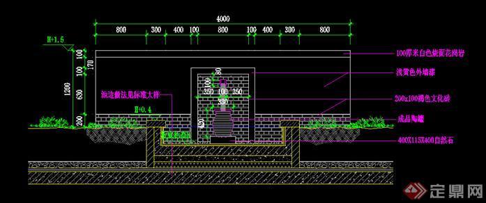 园林水景墙施工细部大样图 CAD施工图