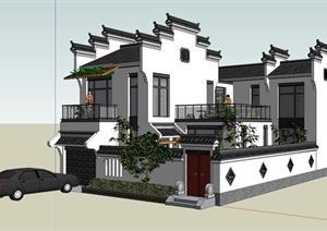 ?#37108;张?#20013;式独栋别墅建筑设计方案su模型