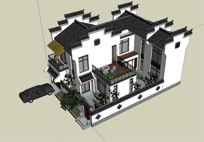 某徽派中式独栋别墅建筑设计方案su模型,该模型设计精美细致,细节处理较好,材质处理较好,风格是现代中式风格,是比较好的别墅建筑设计方案。
