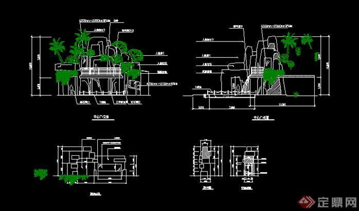 园林景观图库细部v图库假山图(CAD施工图)cad大样柱式图片
