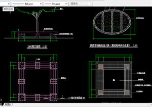 某现代风格园林景观树池坐凳扩初图设计CAD图纸2