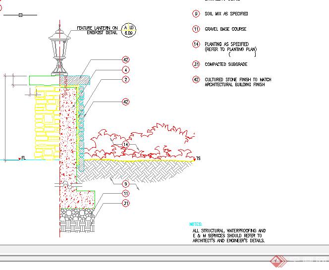 某现代风格园林景观挡墙扩初图设计cad图纸4