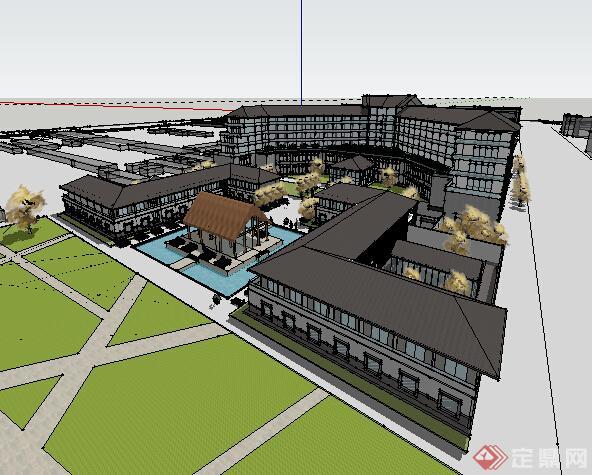某现代中式酒店建筑设计方案su模型(1)图片