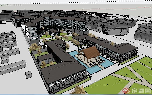 某现代中式酒店建筑设计方案su模型(2)图片