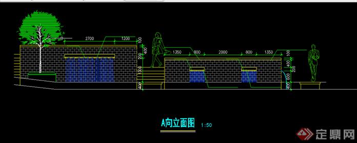 代风格园林景观水景喷泉跌水景墙扩初图CAD图纸