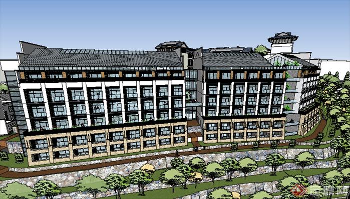 某现代风格宾馆酒店建筑设计su模型素材33