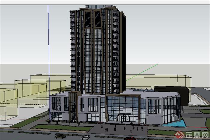 某现代风格宾馆酒店建筑设计su模型素材38
