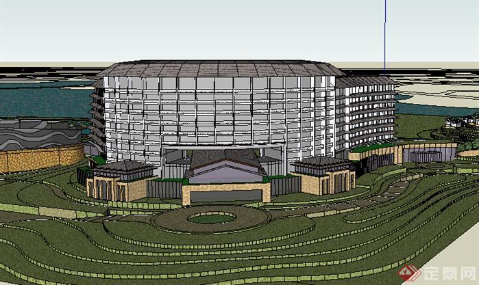 某现代酒店建筑设计方案su模型23