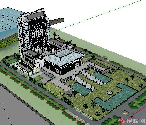 某现代中式酒店建筑设计方案su模型3(2)图片