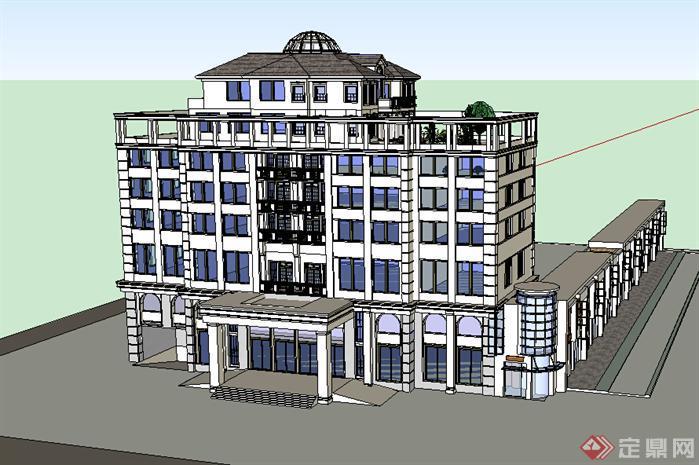 某现代风格宾馆酒店建筑设计su模型素材63