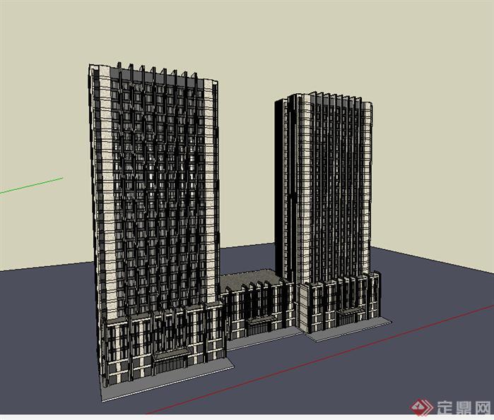 某现代风格宾馆酒店建筑设计su模型素材71