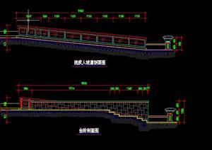 某现代风格园林景观无障碍坡道设计施工图CAD图纸