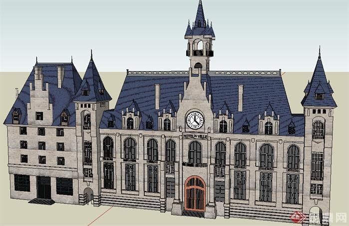 某现代欧式风格宾馆酒店建筑设计su模型素材90