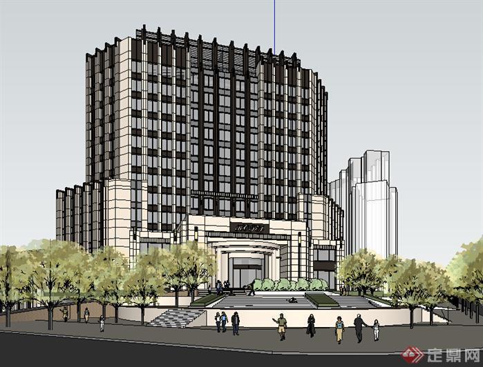 某现代风格宾馆酒店建筑设计su模型素材92