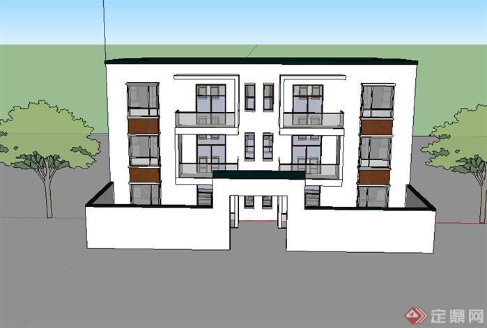 某现代中式风格多层住宅楼建筑设计SU模型素材 含效果图