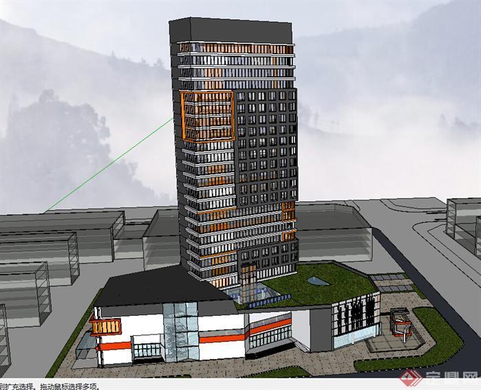 某现代风格宾馆酒店建筑设计su模型素材103