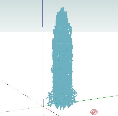 某园林景观喷泉水景水花水柱su模型素材(1)