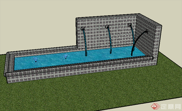 某喷水池水景墙设计su模型素材