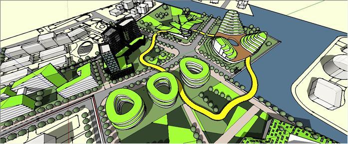 某现代产业园建筑概念规划设计su模型素材[原创]
