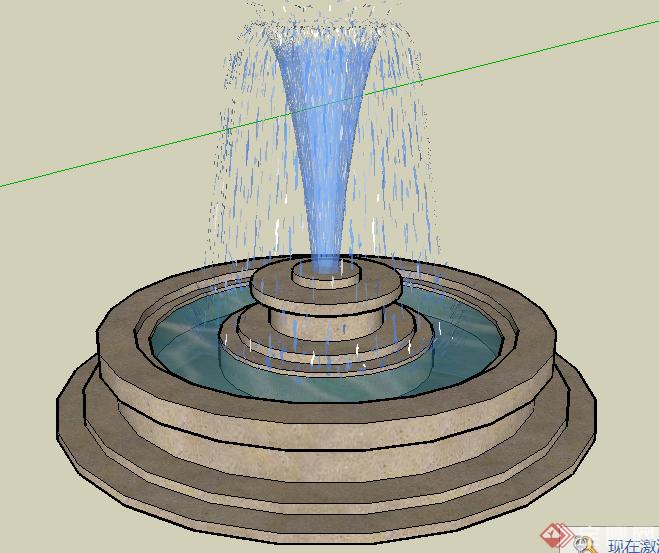 某欧式跌水景观池喷水池设计su模型素材3