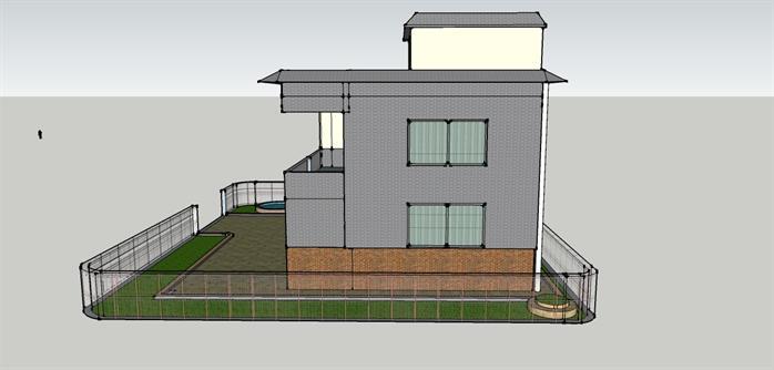 某简约风私人小别墅建筑设计su模型素材[原创]