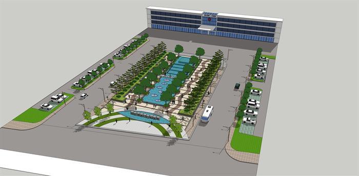 某个医院的前广场景观绿化设计su模型素材[原创]