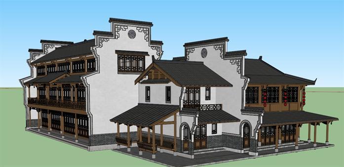 某古典中式风格商业住宅项目建筑设计su模型素材