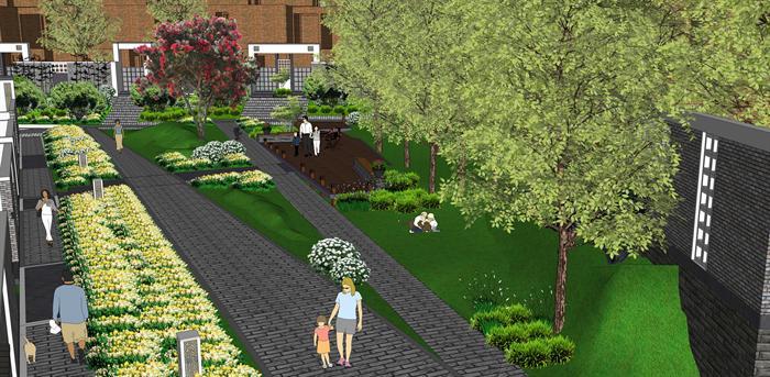 某居住小区园区景观绿化花卉设计su模型素材[原创]