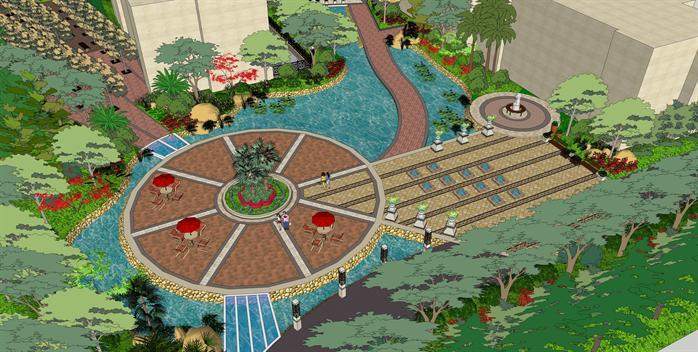 某居住小區園林景觀綠化設計su模型素材[原創]