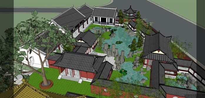 某古典中式風格園林景觀設計方案su模型